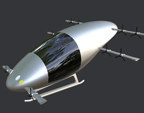Low Poly Simple Cartoon Flying Car 3D asset