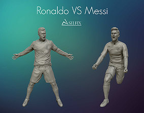 Cristiano Ronaldo and Leo Messi sculptures 3D model