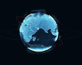 3D model Animated Hologram Planet Earth v1