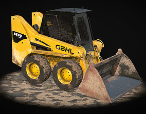 3D model low-poly Skid steer Loader Lowpoly