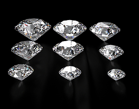 Diamond Round Ideal Cut Different Sizes 3D model