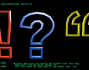 Low poly punctuation marks 2 3D asset