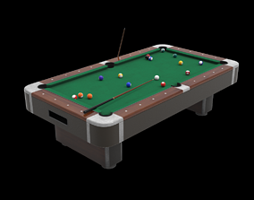 3D model Billiard table with cues and balls