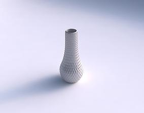 3D print model Vase curved 2 with grid piramides