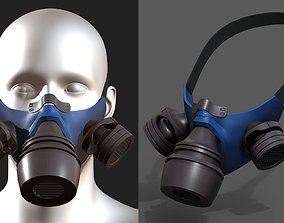 3D asset Gas mask plastic protection isolated scifi