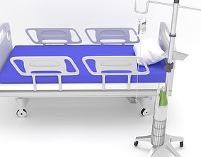 3D model hospitalbed with dripstand