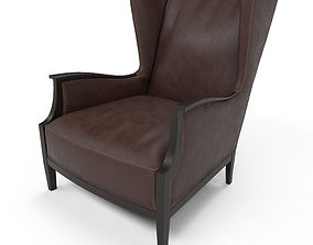 3D asset Leather Wingback Chair