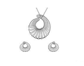 gold Women pendant-earrings set 3dm render detail