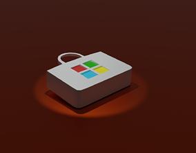 Microsoft store logo 3d low-poly