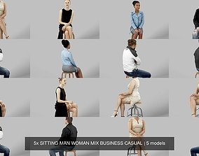 3D 5x SITTING MAN WOMAN MIX BUSINESS CASUAL