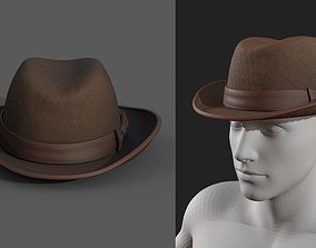 3D model Human cap cloth leather protection classic