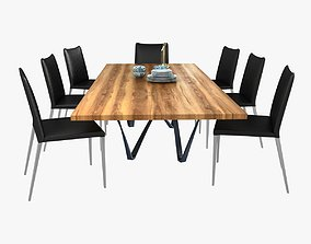 3D model Modloft asti dining chair and genoa dining table