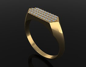 3D print model Narrow Bar Hexagon Diamond Cluster Band 3
