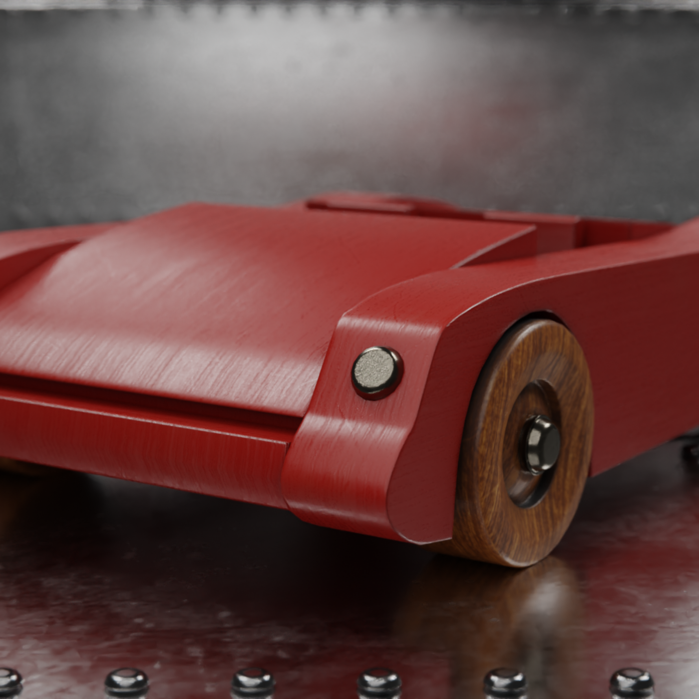 Red wooden toy sport car