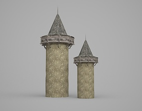3D model Brick and Wood Defense Tower of Ancient Buildings