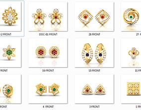 17 Women Studs Earrings 3dm render details bulk