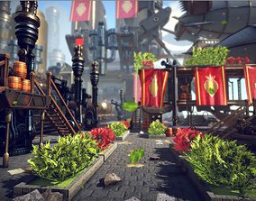 Fantasy Steampunk sky city Kitbash 3D model