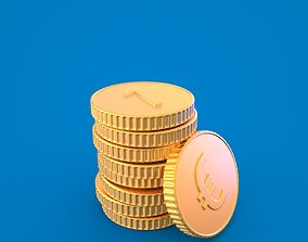 Coin euro both subd mesh and uv with 3D model