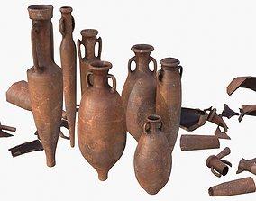 3D model realtime Amphora - Damaged Red Terracotta