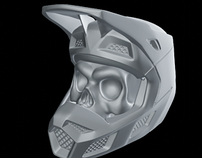 motocross 3D print model Skull Wearing Motocross Helmet