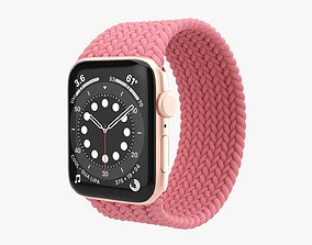 3D Apple Watch Series 6 braided solo loop gold