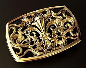 3D printable model Royal Lily Belt Buckle silver