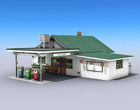 Gas Station With Grocery 3D asset