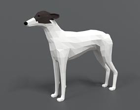 Low Poly Cartoon Greyhound Dog 3D model