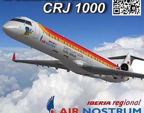 Bombardier CRJ 1000 Air Nostrum 3D asset animated