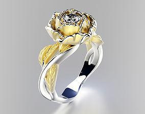 Peony fashion ring 0004 3D printable model