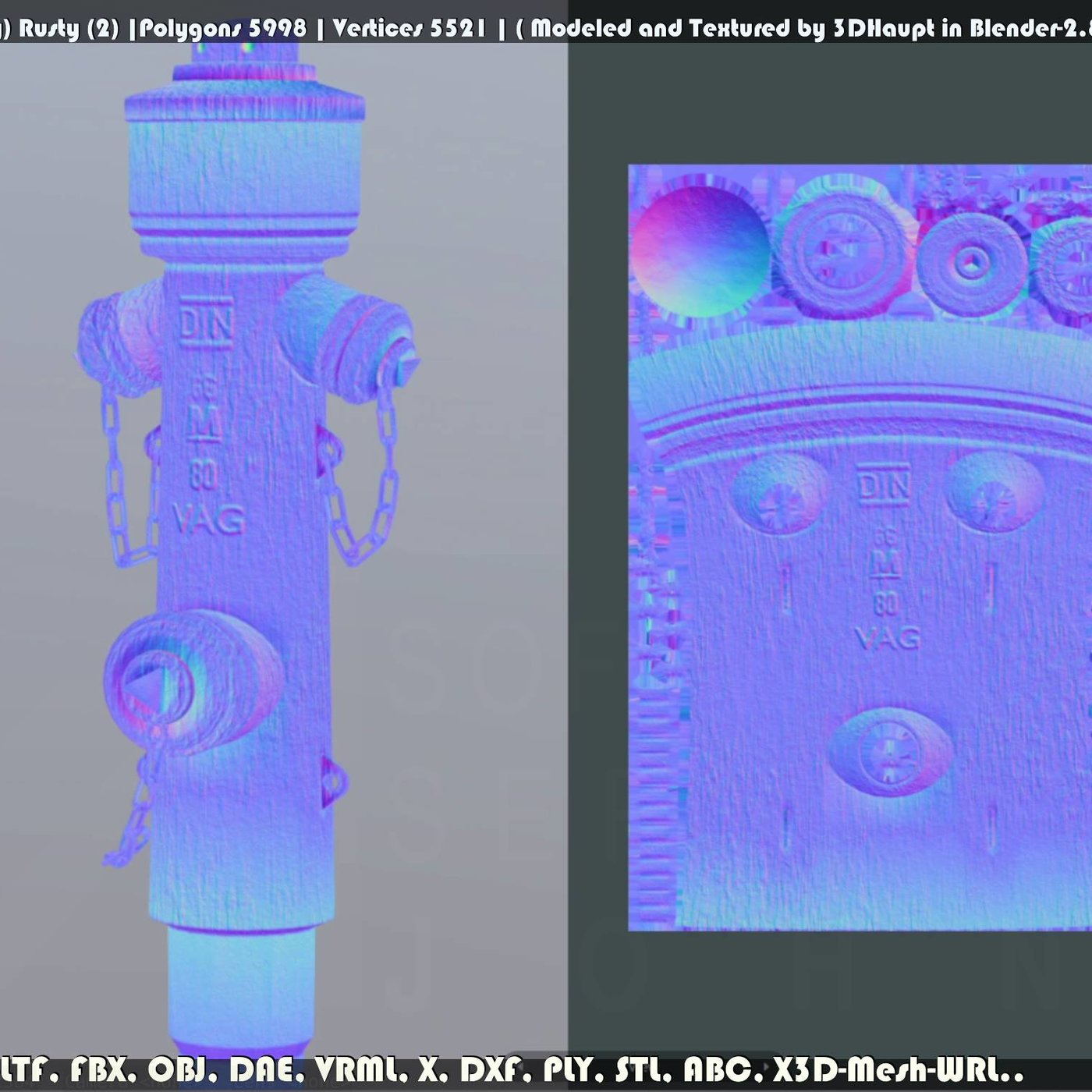 Fire Hydrant VAG Version 2 (Low-Poly) Rusty (2)