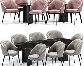 3D Amara Beige Chenille Dining Table Chair
