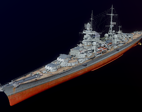 Hindenburg1945 battleship Nazi Germany 3D model