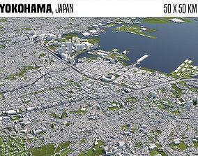 3D model Yokohama Japan 50x50km