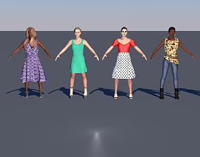3D asset Pack of 6 low poly animated female characters 3