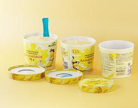 3D model Banana ice cream 75 grams