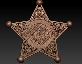art Sheriff badge 3 pack 3d model