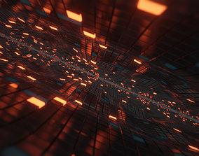 3D Abstract Scifi Cube Wave