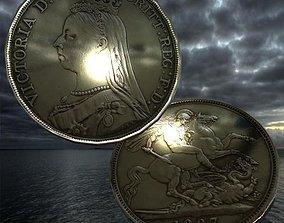 3D asset Queen Victoria coin