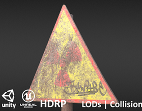 Game-ready Radioactivity sign rusty - Unity - 3D asset 3