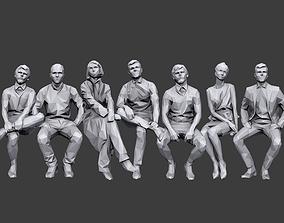 3D model Lowpoly People Sitting Pack Volume 4