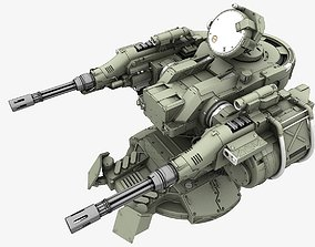 Turret 3D model rigged