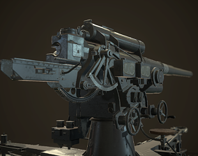 3D asset low-poly German Flak Gun 88mm