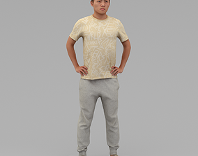 3D A Strong Young Man Posing In Akimbo Posture