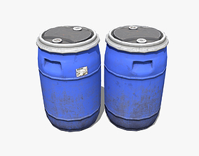 3D asset Plastic Barrel