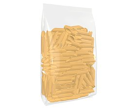Pasta bag transparent plastic 3D