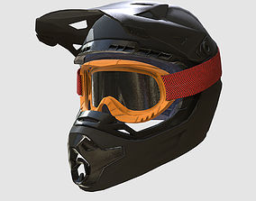 3D asset Low Poly PBR Motocross Helmet and Goggles