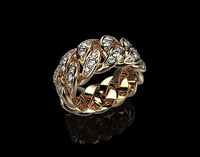 brilliant Diamond Cuban Ring 3D print model
