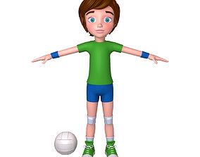 3D Volleyball Player Cartoon