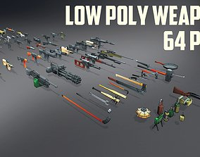 3D asset Low Poly Weapons Collection - 64 Pack